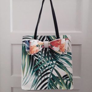 Betsey Johnson Palm Print Floral Bow Tote Purse
